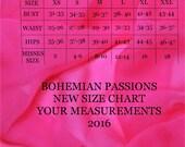 Bohemian Passions Size Chart Misses Sizes XS S M L XL XXL  Your Body Measurements 2016