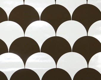 Retro Wallpaper by the Yard 70s Vintage Wallpaper - 1970s Vinyl Chocolate Brown and White Scalloped Circles Geometric