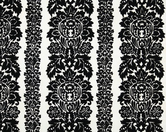Retro Flock Wallpaper by the Yard 70s Vintage Flock Wallpaper - 1970s Black Flock Damask Stripes