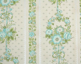 Retro Wallpaper by the Yard 70s Vintage Wallpaper - 1970s Aqua and Green Floral Stripe