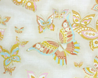 Retro Wallpaper by the Yard 70s Vintage Wallpaper - 1970s Gold Yellow Aqua Pink and Coral Butterflies