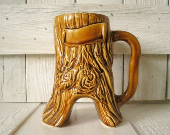 Vintage tree stump mug coffee cup woodgrain ceramic