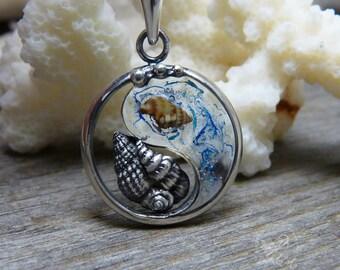 Yin Yang Jewelry, Yin Yang Necklace, Asian Jewelry , Silver Yin Yang, Yin Yang Pendant, Zen Jewelry, Seashells, Marine Jewelry, Silver Shell