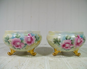 Porcelain Bowls Set of 2 with Gold Feet & Pink Roses Made in Czechoslovakia Antique HandPainted Matching Vintage Interior Decor Vanity Bowls