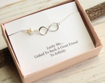 Friendship Infinity Bracelet With Gift Message -- 925 Sterling Silver with Freshwater Pearl -- Bridesmaids Maid of Honor