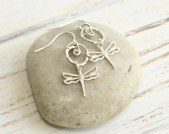 Sterling Silver Dragonfly and Whimsical Swirl Earrings