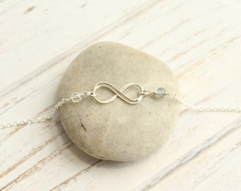 Sterling Silver Infinity Bracelet with Your Choice of Two Birthstones