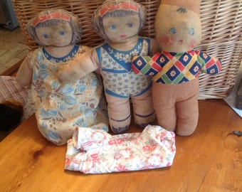 Vintage Antique handmade fabric dolls with dresses