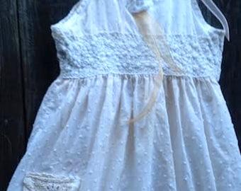CUSTOM example made to order shabby ivory gauzey rustic boho crochet party flower girl tan ivory creamy princess eco gypsy lace dress