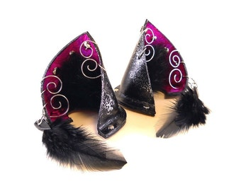 Fancy Silver Fuchsia Purple Leather Jeweled Cat Ears Nekomimi Cosplay Furry Fantasy Goth LARP Pet Play Kitten Costume