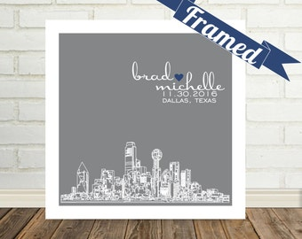 Anniversary Gift City Skyline Gift for Husband Gift for Wife FRAMED ART Print 1st Anniversary Gift First Anniversary Any City Available