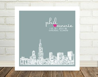 Wedding Print Personalized Art City Skyline Print Any City Available Worldwide Unique Wedding Gift Engagement Gift Valentines Day Gift