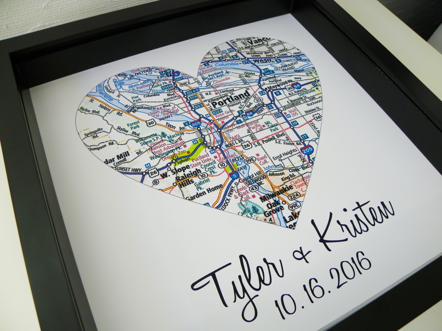 Personalised Wedding Gift Heart : Destination Wedding Gift City Map Heart FRAMED Art Print