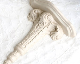 Vintage Plaster Chalk Ware Wall Shelf In Cream Paint