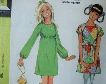 UNCUT Vintage 1969 McCall's MOD Era Empire Waist Dress with Raglan Sleeves 2240 Sewing Pattern Size 8 Bust 31 1/2