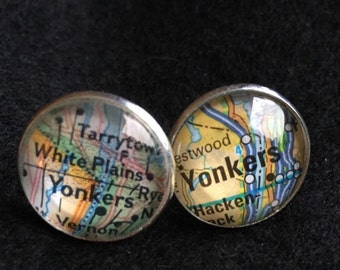 2 sets (2 pairs) Cufflinks custom map cufflinks silver plated 2 sets your choice of city they come with mini wooden trunk