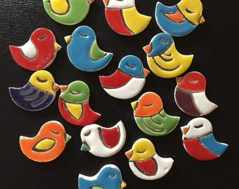 "Ceramic Fridge Magnet Set (2) colourful birdies 1.5"" x1.5"" (approximately) and strong silver tine magnet for fridge decor"