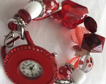 Red and White Polka Dot Stretchy Chunky Beaded Interchangeable Watch Band
