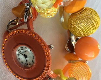 CLOSING SHOP!!! Orange and Golden Yellow Stretchy Chunky Beaded Interchangeable Watch Band