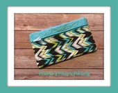 Turquoise-Lime-Chocolate-White  6x10 inch Quilted Zippered Cosmetic Bag/ Travel Bag/Kid's Pencil or Marker Case/ Toiletry Bag/ Ready to Ship