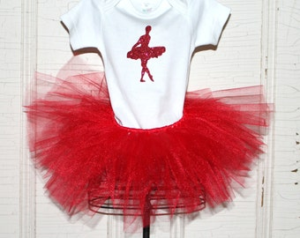 READY TO SHIP/Glitter Ballerina Outfit/0-3 Month Onesie and Matching Red Tutu/Baby Girls/Ballerina Outfit/Tutu/White Top/Costume