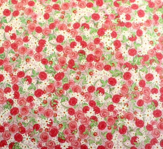 "Adhesive Fabric Paper Tossed Roses Self Adhesive Fabric Acid & Lignin Free 12"" x 12"" Scrapbook Supplies Craft Supply RARE OOP"