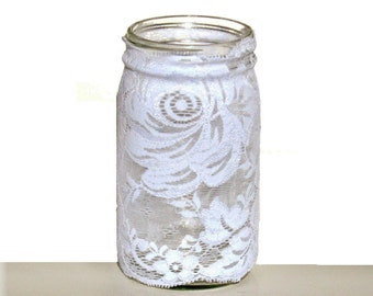 Lace Mason Jar Cover, White Lace Jar Cover, Stretch Lace Jar Cover, Home Decor, Wedding Centerpiece, Party