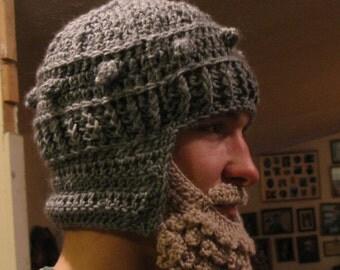 Medieval Helmet/ Manly-Man Beard Crochet Pattern- Teen/Adult