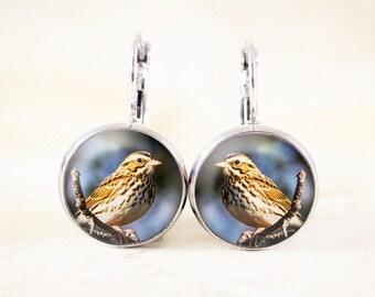 Sparrow Earrings - Savannah Sparrow Jewelry, Songbird Earrings, Sparrow Bird Jewelry, Silver Bird Jewelry, Silver Sparrow Jewellery