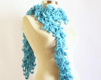 SCARVES collar  Knit Scarf Curly Long Scarf, gift  Neckwarmer, Cowl, Necktie pom pom