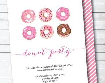 Valentine's Day Donut Themed Party Digital Invitation
