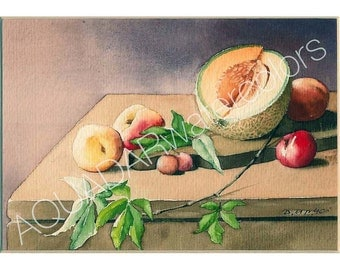 READY TO SHIP Original Watercolor Painting Still Life with Cantaloupe Wall Art  Home Decor  Kitchen Decor Shabby Chic Cottage  Framed
