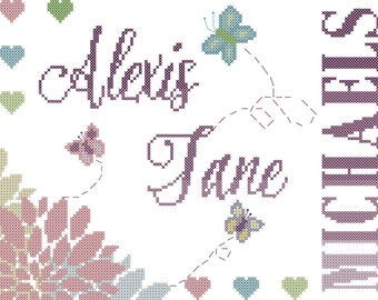 Baby Girl Cross Stitch Pattern Modern with Butterflies, Flowers and Ombre Text