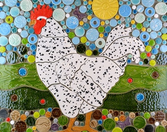 Funky Chicken, Handmade Ceramic Tile Mosaic, Ready to Install