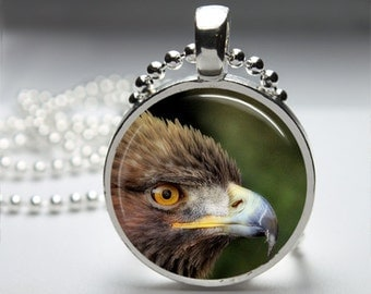 Eagle Round Pendant Necklace with Silver Ball or Snake Chain Necklace or Key Ring