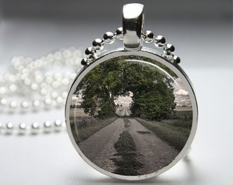 Garden Nature Path Round Pendant Necklace with Silver Ball or Snake Chain Necklace or Key Ring