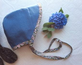 Bonnet with Brim, Brimmed Baby Bonnet, Linen Baby Bonnet, Blue Linen Bonnet
