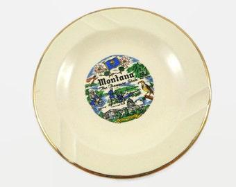 Montana Vintage Ashtray Treasure State Ceramic 22 K Gold Trim Sabina Line Souvenir 1960s