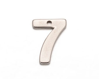 10 Number 7 (seven) Stainless Steel Charm Pendants, chs2304