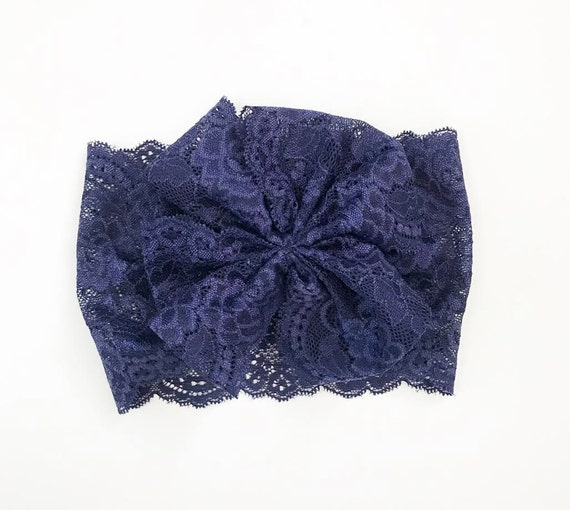 NEW NAVY LACE Oversized Wrap with Cinched Finished or Bow Finish - stretch head wrap/turban/headband / adult / winter/ fall child baby