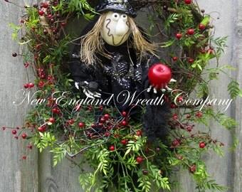 Halloween Wreath, Witch Wreath, Fall Wreath, Autumn Wreath, Halloween Party Decor, Harvest Wreath, Whimsical Fall Wreath, Whimsical Witch