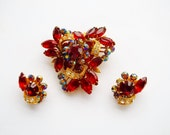 Rhinestone Brooch and Earrings Set Red Rhinestone Navettes Fabulous Mid Century