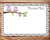 Pink Owls Thank You Card - INSTANT Download - 4x6, Owls, Pink Owls thank you, Gray, Chevron, As Is, Thank you, 1 PDF and 1 JPEG, 1458, 1440