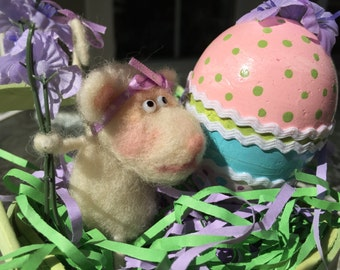 ON SALE Easter Mouse with a Hand Painted Egg  Needle Felted Handmade