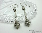 Rhinestone Earrings - Vintage Assemblage Earrings - Sterling Silver Moonstone Earrings - One of a Kind