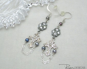 Repurposed Rhinestone Earrings - Sterling Silver Cross Earrings - Rhinestone Dangle Earrings - Handmade Unique Earrings