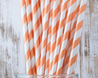 "25 Orange Extra Long vintage barber stripe drinking straws - with FREE Blank Flag Template - see also ""Personalized"" Flags"