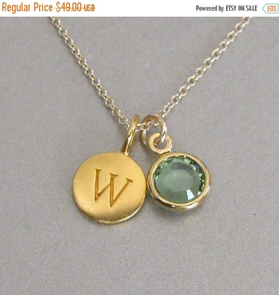Gold Initial & Birthstone Charm Necklace - Initial Necklace - Monogram Jewelry - Personalized Jewelry