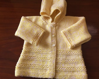 Baby Yellow & White Marle  Hand Kntted Merino 8 ply DK  Hooded Jacket  / Sweater with Dolman Sleeves  Age 3 -  6 months  Made in Scotland