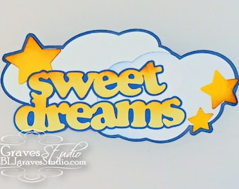 Premade Paper Piece Title Die Cut for Scrapbook Page Sweet Dreams Baby Boy Girl Handmade 4